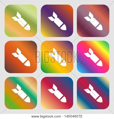 Missile,rocket Weapon Icon. Nine Buttons With Bright Gradients For Beautiful Design. Vector