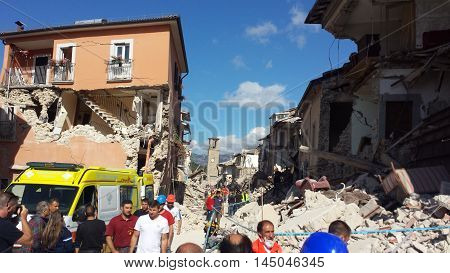 Corso Umberto I of Amatrice on the morning of August 24, 2016 after the earthquake that destroyed the city