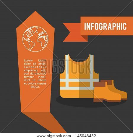 infographic jacket boot industrial security safety protection icon set. Colorful and flat design. Vector illustration