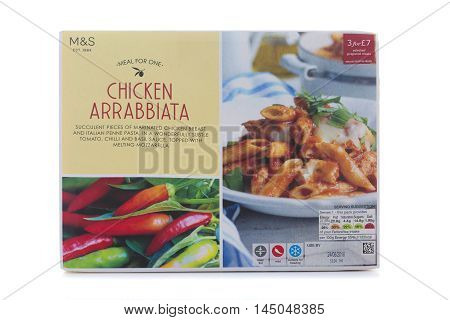 SWINDON UK - AUGUST 20 2016: Packet of Chicken Arrabbiata on a White Background