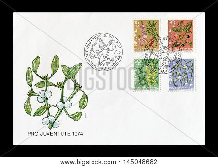 SWITZERLAND -CIRCA 1974 : Cancelled First Day Cover letter printed by Switzerland, that shows Flora.