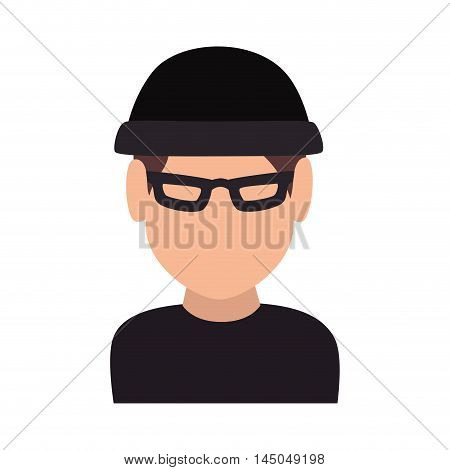 thief cartoon robber criminal man theft wearing black clothes vector illustration
