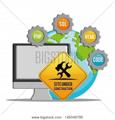computer tools road sign gears under construction site web online digital icon set. Colorful and flat design. Vector illustration