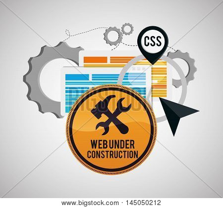 under construction tools road sign gears site web online digital icon set. Colorful and flat design. Vector illustration