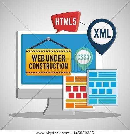 computer barrier under construction site web online digital icon set. Colorful and flat design. Vector illustration