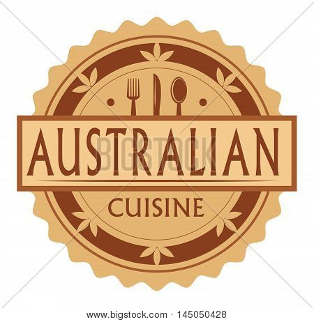 Abstract stamp or label with the text Australian Cuisine written inside, traditional vintage food label, with spoon, fork, knife symbols, vector illustration