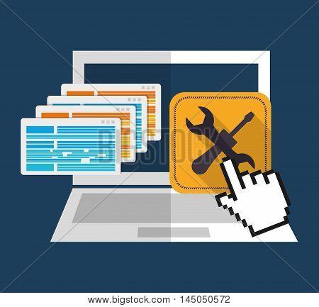 laptop tools frame under construction site web online digital icon set. Colorful and flat design. Vector illustration