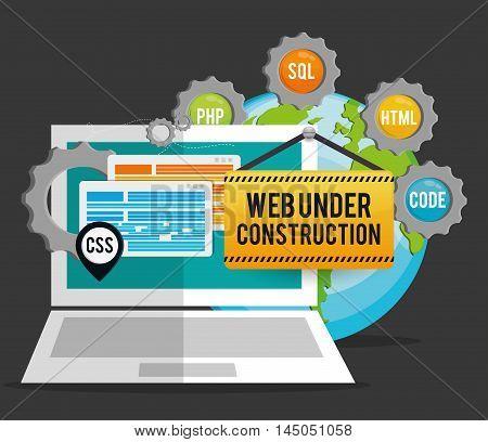 laptop gears barrier planet under construction site web online digital icon set. Colorful and flat design. Vector illustration
