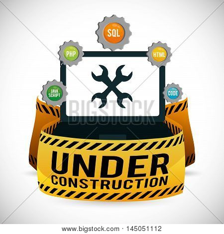 laptop gears wrench barrier under construction site web online digital icon set. Colorful and flat design. Vector illustration
