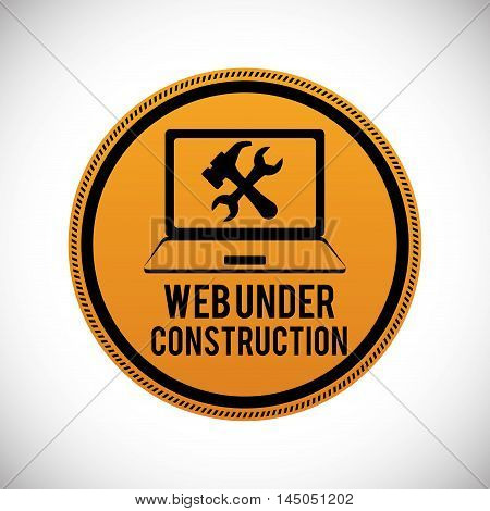 laptop button tools under construction site web online digital icon set. Colorful and flat design. Vector illustration