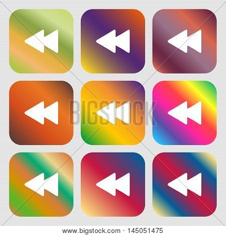 Rewind Icon. Nine Buttons With Bright Gradients For Beautiful Design. Vector
