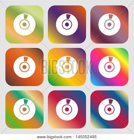 Cd Or Dvd Icon Sign . Nine Buttons With Bright Gradients For Beautiful Design. Vector