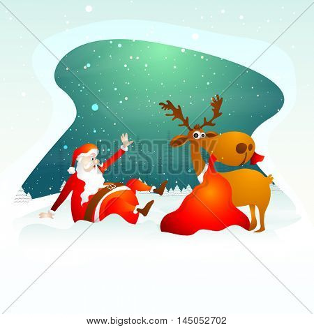Creative illustration of funny Santa Claus, falling on snow with reindeer holding red sack on winter background for Merry Christmas celebration.