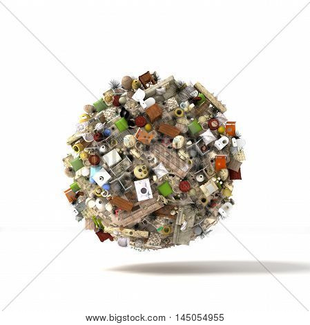 3d render. Planet in a huge ball of objects and debris hanging in space on a white background. Dump.