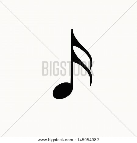 Music note isotated icon. Vector music note silhouette illustration. Concept of melody sign music note. Black music note isotated for your design. Shape of music note isolated.