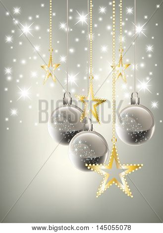 Bright silver graded Christmas background with silver baubles and bright golden stars