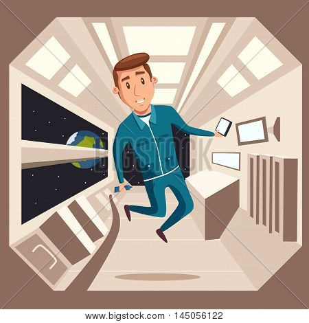 Cosmonaut in zero gravity. Vector cartoon illustration. Astronaut character in flight. Interstellar spaceship. Interior of spacecraft