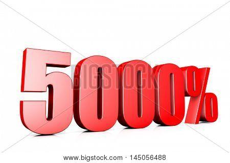 3d illustration sign of 5000%