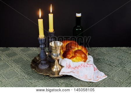 Shabbat Shalom Hebrew With Kiddush Candles