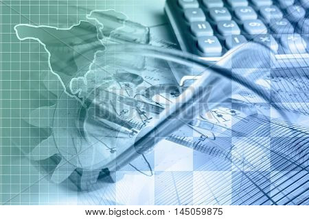Financial background with map calculator graph gear and buildings in greens and blues.