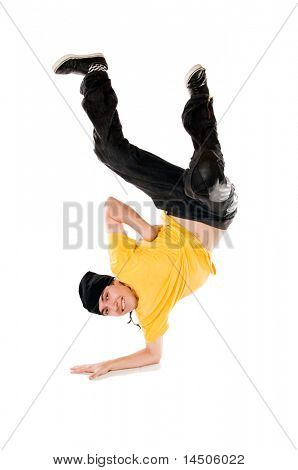 Young happy breakdancer standing upside down on arm