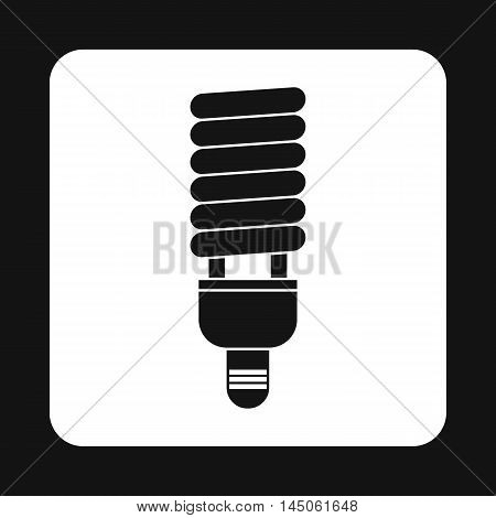 Energy saving fluorescent light bulb icon in simple style on a white background