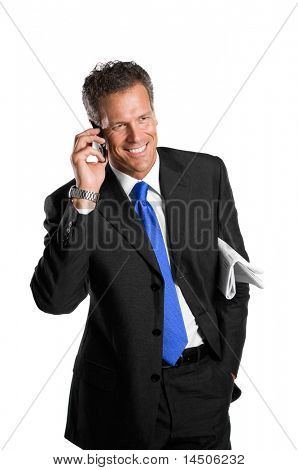 Happy mature businessman talking on mobile isolated on white background