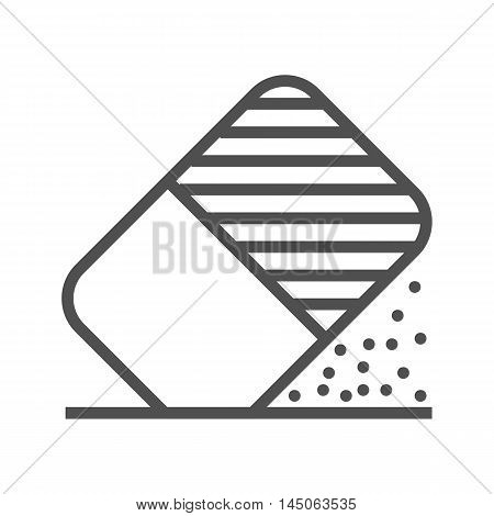 Eraser tool thin line vector icon isolated on the white background.