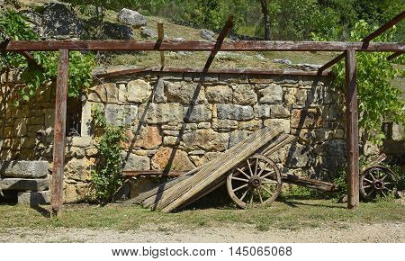 An old disused wooden cart in Croatia.