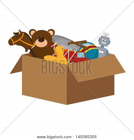 box with kid toys duck bear horse drum robot child entertainment vector illustration