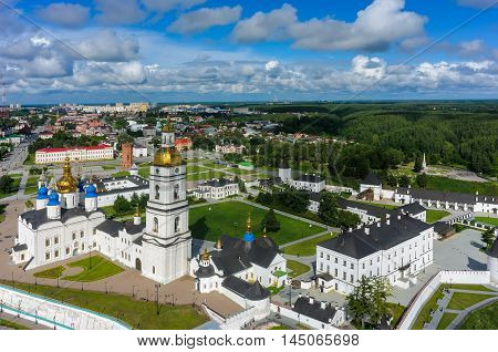 Tobolsk, Russia - July 15, 2016: Aerial view onto Tobolsk Kremlin with St. Sophia-Assumption Cathedral and belltower in summer day. Tyumen region
