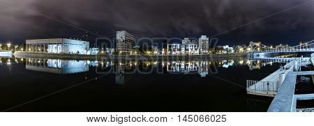 Night City Light Waterfront Panorama. Wroclaw City. Poland