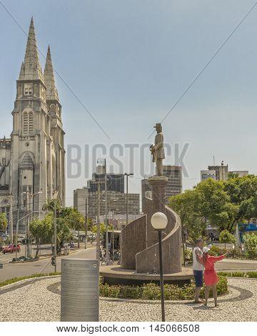 FORTALEZA, BRAZIL, DECEMBER - 2015 - Exterior view monument park and metropolitan cathedral of Fortaleza Brazil