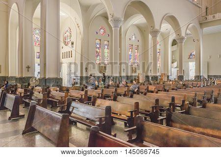 FORTALEZA, BRAZIL, DECEMBER - 2015 - Interior view of metropolitan cathedral of Fortaleza Brazil