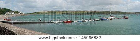 Sailing Boats Lake Pier Maritime Landscape Panorama View