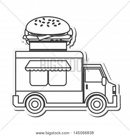 hamburger delivery fast food urban business icon. Flat and isolated design. Vector illustration
