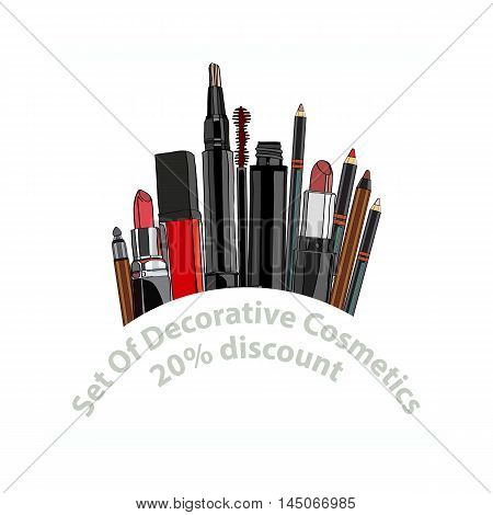 set of decorative cosmetics - eye shadow, liner, mascara, comb, brush, dropper, a balm for the eyes, eyebrow balm. 20 discount. vector illustration for cosmetic banners, brochures and promotional items