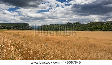 The grass on top of a mountain in autumn landscape. Stock photo