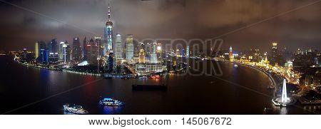 Shanghai Pudong Skyline Modern Night City Lights Skyscraper Panorama View