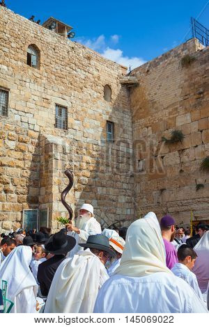JERUSALEM, ISRAEL - OCTOBER 12, 2014:  The old man blows the shofar. The Jews of tallit hold four ritual plants. Religious Jews came to the Western Wall of the Temple