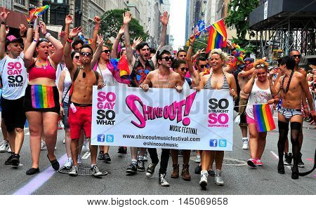 New York City - June 29 2013: Marchers from Shine Out Music Festival at the 2013 Gay Pride Parade on Fifth Avenue *