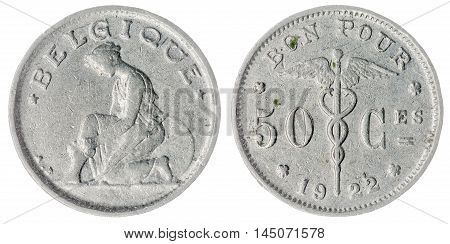 50 Centimes 1922 Coin Isolated On White Background, Belgium