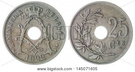 25 Centimes 1922 Coin Isolated On White Background, Belgium