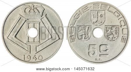 5 Centimes 1940 Coin Isolated On White Background, Belgium