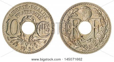 10 Centimes 1936 Coin Isolated On White Background, France