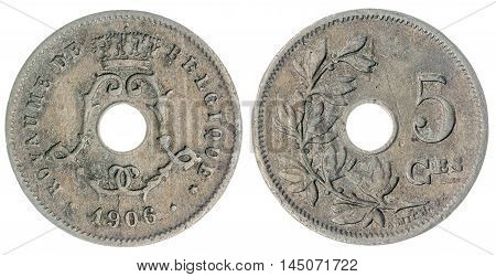 5 Centimes 1906 Coin Isolated On White Background, Belgium