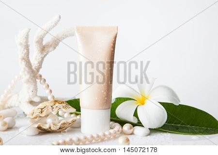 Nameless Cosmetic Tube And Pearl In Shell Decorated With Pearl Necklace