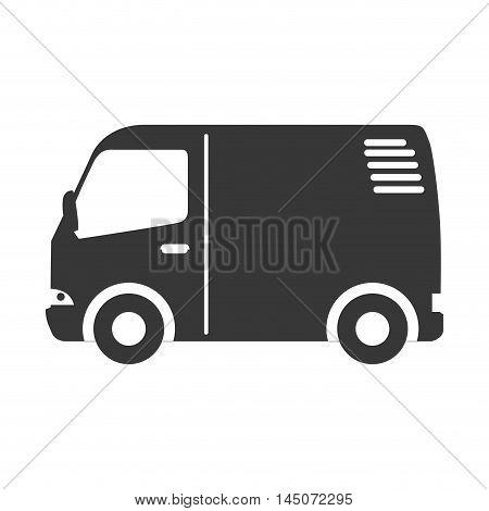mini van microbus transport vehicle wagon silhouette vector illustration