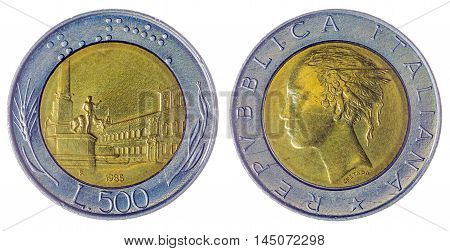 500 Lire 1985 Coin Isolated On White Background, Italy