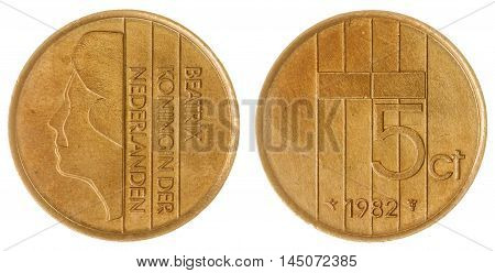 5 Cents 1982 Coin Isolated On White Background, Netherlands